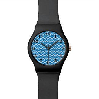 Cooler Türkis und weißer Zickzack Armbanduhr