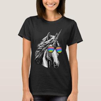Cooler Unicorn mit Regenbogensonnenbrillen T-Shirt