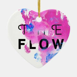 Cooles abstraktes motivierend Zitat der FLUSS Keramik Herz-Ornament