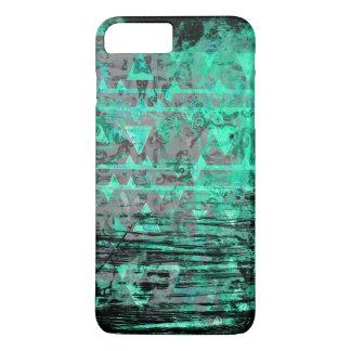 Cooles Aqua und grauer Stammes- DreieckeGrunge iPhone 8 Plus/7 Plus Hülle
