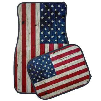 Cooles beunruhigtes amerikanische Flaggen-Holz Auto Fussmatte