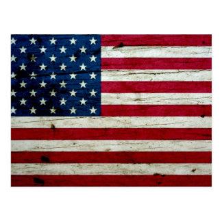 Cooles beunruhigtes amerikanische Flaggen-Holz Postkarte