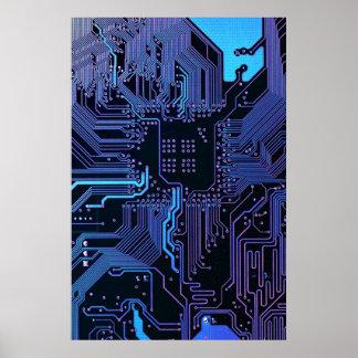 Cooles blaues Computer-Leiterplatte-Plakat Poster