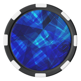 Cooles blaues Eis-geometrisches Muster Pokerchips