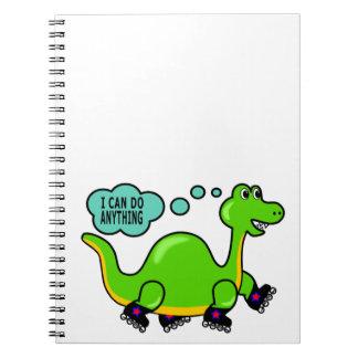 Cooles Cartoon-Dinosaurier-Skaten zum Erfolg Spiral Notizblock