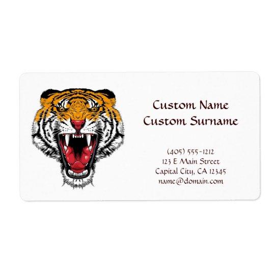 Cooles Cartoontätowierungssymbol, das wilden Tiger Versandetiketten