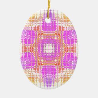 Cooles Chic-Rosa-gelbes Mosaik-Muster Keramik Ornament