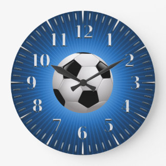 Cooles Fußball-Blau des Sport-Fußball-| Große Wanduhr