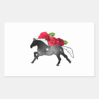Cooles Galazy Pferdeschwarzes + Weißer Nebelfleck Rechteckiger Aufkleber