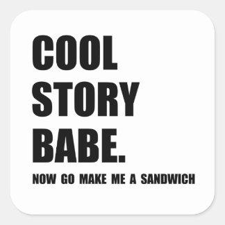 Cooles Geschichten-Sandwich Quadrat-Aufkleber