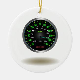 Cooles Geschwindigkeitsmesser-Emblem Rundes Keramik Ornament