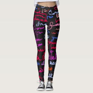 Cooles Graffiti-Art-Liebegrunge-Muster auf Leggings