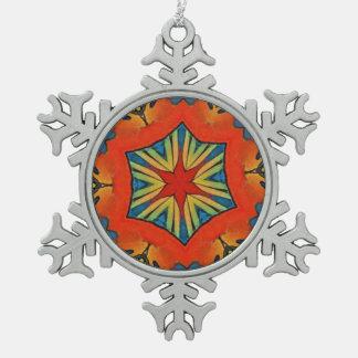Cooles künstlerisches modernes Muster mit Stern Schneeflocken Zinn-Ornament