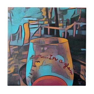 Cooles künstlerisches Wein-Glas Fliese