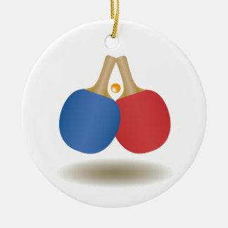 Cooles Ping Pong Emblem 2 Rundes Keramik Ornament