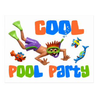 Cooles Pool-Party Postkarte