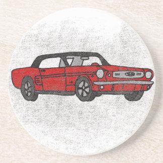 Cooles Retro Vintages rotes konvertierbares Sandstein Untersetzer
