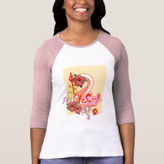 Cooles rosa surfendes T-Shirt für Frauen