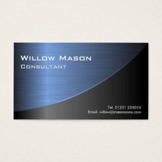 Cooles Schwarzes gebürstetes blaues Visitenkarten