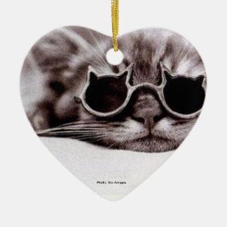 Coolste Katze lebendig - Herz-förmige Keramik Keramik Ornament