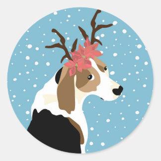 Coonhoundfeiertagsaufkleber Runder Aufkleber