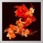 Copie d'art abstrait de Firebirds de danse Posters