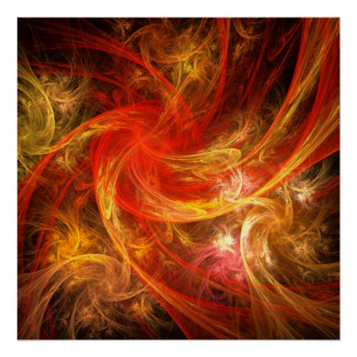 Copie d'art abstrait de tempête de feu