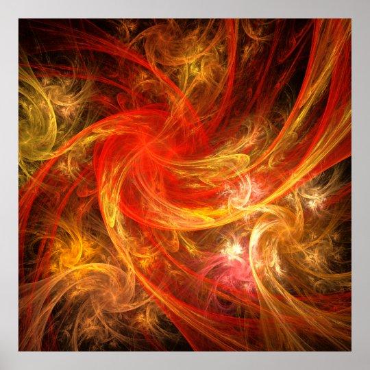 Copie d'art abstrait de tempête de feu poster