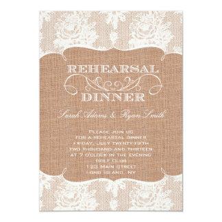 Copie de toile de jute et dîner rustiques de carton d'invitation  12,7 cm x 17,78 cm