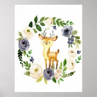 Copie florale de crèche de marine de cerfs communs poster
