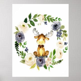 Copie florale de crèche de marine d'orignaux de poster