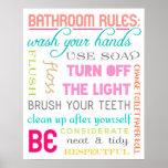 Copie moderne de règles de salle de bains affiche