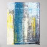 Copie turquoise et jaune d'affiche d'art abstrait