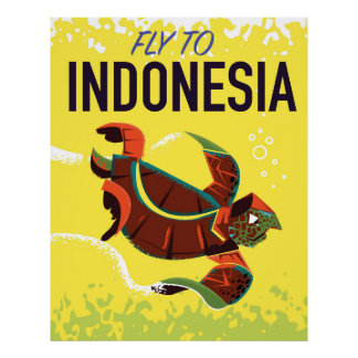 Copie vintage d'affiche de voyage de l'Indonésie Poster