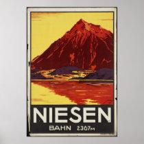 Copies de voyage de Niesen Bahn rétros d'annonce Poster