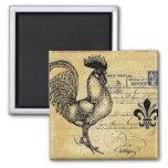 Coq français vintage sur la toile de jute magnet carré