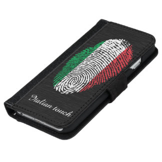 Coque Avec Portefeuille Pour iPhone 6 Drapeau italien d'empreinte digitale de contact