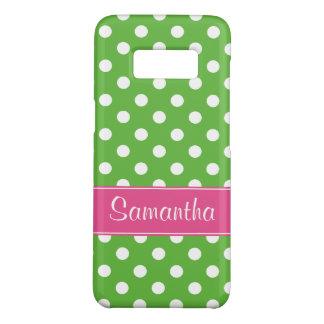 Coque Case-Mate Samsung Galaxy S8 Pois rose et vert de très bon goût personnalisé