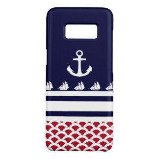 Coque Case-Mate Samsung Galaxy S8 Rayures et ancre nautiques blanches du rouge | du