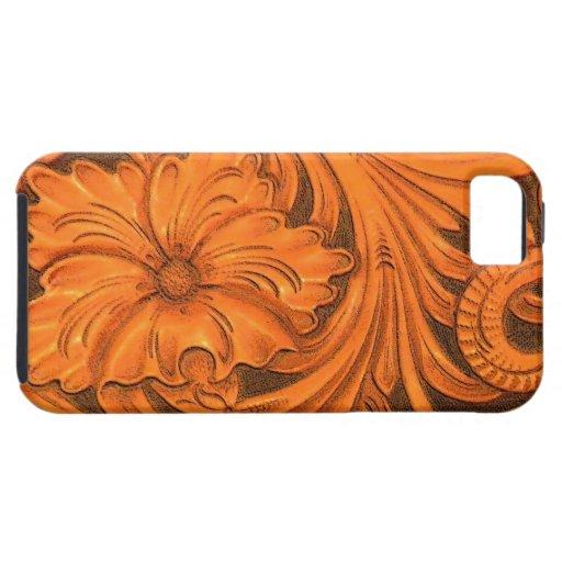 Coque-Compagnon en cuir usiné floral de l'iPhone 5 Étui iPhone 5
