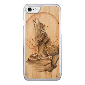 Coque En Bois iPhone 7 Loup d'hurlement sur l'iPhone en bois 6 d'érable