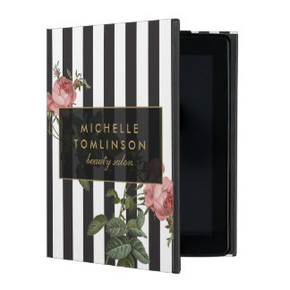 Coque ipad personnalisé rayé floral vintage