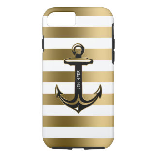 Coque iPhone 7 Blanc de Monogramed et rayures d'or, ancre