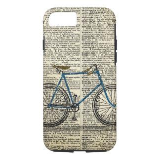 Coque iPhone 7 Cru bleu de vélo de bicyclette d'art de