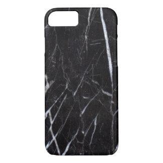 Coque iPhone 7 Grain en pierre de marbre noir/texture