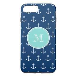 Coque iPhone 7 Plus Motif blanc d'ancres de bleu marine, Monogr vert