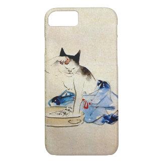 Coque iPhone 8/7 顔を洗う猫, lavage de visage de chat de 広重, Hiroshige,