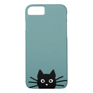 Coque iPhone 8/7 Chat noir sur le bleu (la couleur est