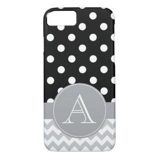Coque iPhone 8/7 Chevron gris et monogramme noir de coutume de pois