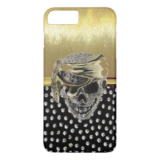 Coque iPhone 8 Plus/7 Plus Cas métallique frais de conception de crâne d'or